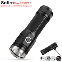No Stock Sofirn SP33V3.0 3500lm Powerful LED Flashlight Type C USB Rechargeable Torch Light Cree XHP50.2 with Power Indicator