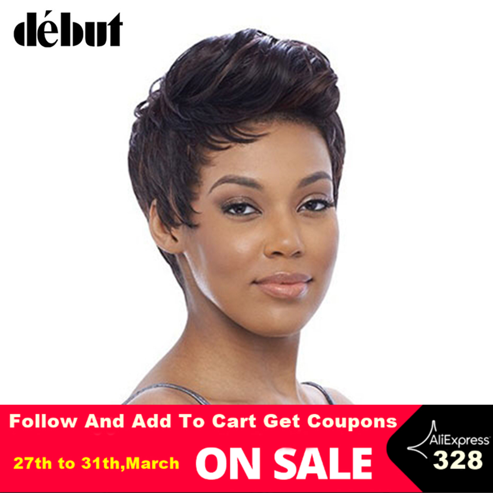 Debut Natural Black Color Lace Front Human Hair Wigs For Black Women Remy Brazilian Pixie Cut Hair Wigs Lace Front Short Wigs
