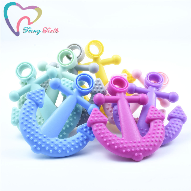 10 PCS Baby Accessories Silicone Anchor Teether Crib Chewing Toy Diy Crafts Accessories Teething Nursing Jewelry Baby Teethers