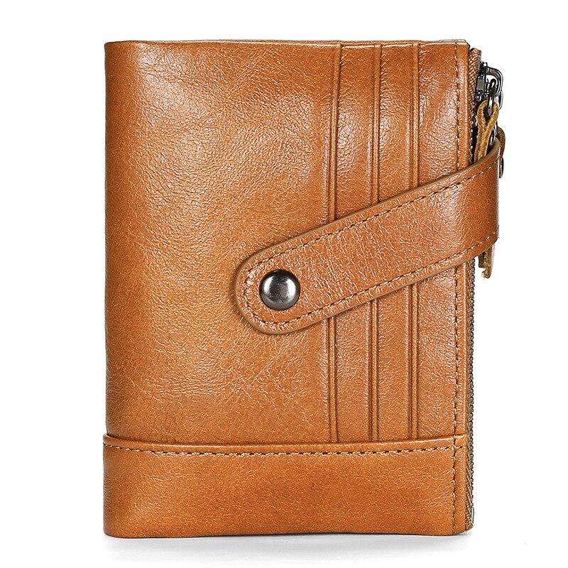 JIAMEN 2019 Women Men Wallets Oil Wax Cowhide Genuine Leather Wallets Coin Purse Clutch Hasp Open Top Quality Retro Short Wallet