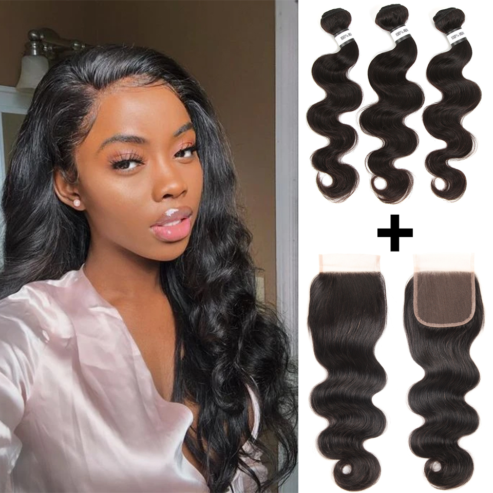 Remy Forte Body Wave Bundles With Closure Natural Color 100% Upgrade Remy Brazilian Hair Weave Bundles 28 Inch 3 Hair Bundles