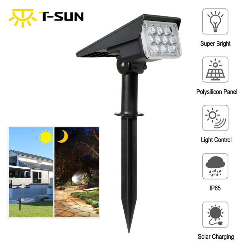 T-SUNRISE  20LED Solar Garden Light IP65 Waterproof Cold White Auto ON OFF Outdoor Solar Lights Solar Landscape Spotlights Lamps