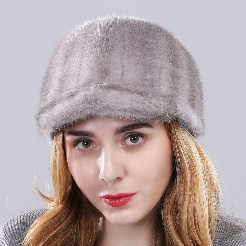 Роскошная женская Норковая меховая шапка зимняя Осенняя модная Натуральная норковая меховая бейсболка Регулируемая брендовая качественная - Цвет: grey