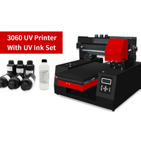 Automatic A3 UV Printer 3060 Inkjet Printer with UV Ink Set UV Flatbed Printers for Bottle, Phone Case, Acylic, Leather, TPU