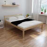 VidaXL Modern Simple Solid Pine Wood Bed With Mattress Comfortable Bedroom Bed 140 X 200cm Easy Assembly