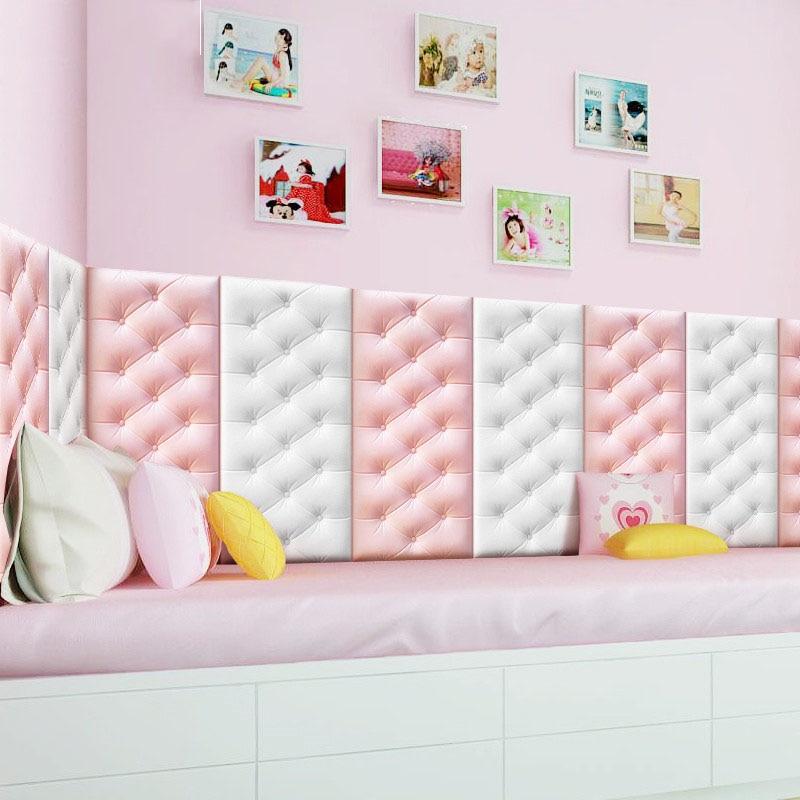 New 3D Faux Leather PE Foam Wall Sticker Waterproof Self Adhesive Wallpaper For Living Room Bedroom Kids Room Nursery Home Decor