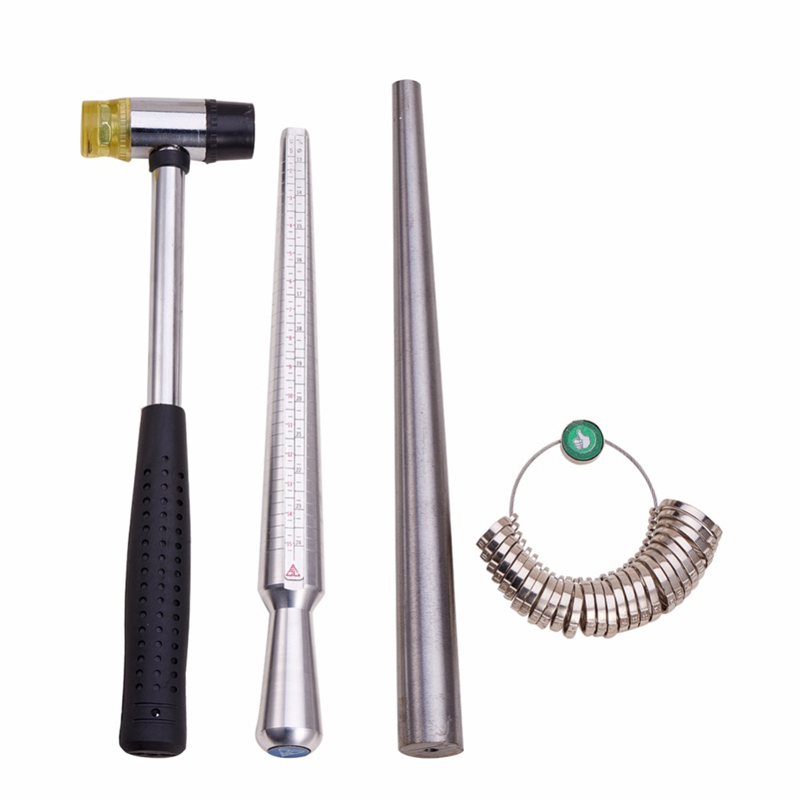 4 In 1 Jewelry Measuring Tool Sets Ring Size Sticks Ring Mandrel American Calibration Ring Sizers Installable Two Ways Hammers