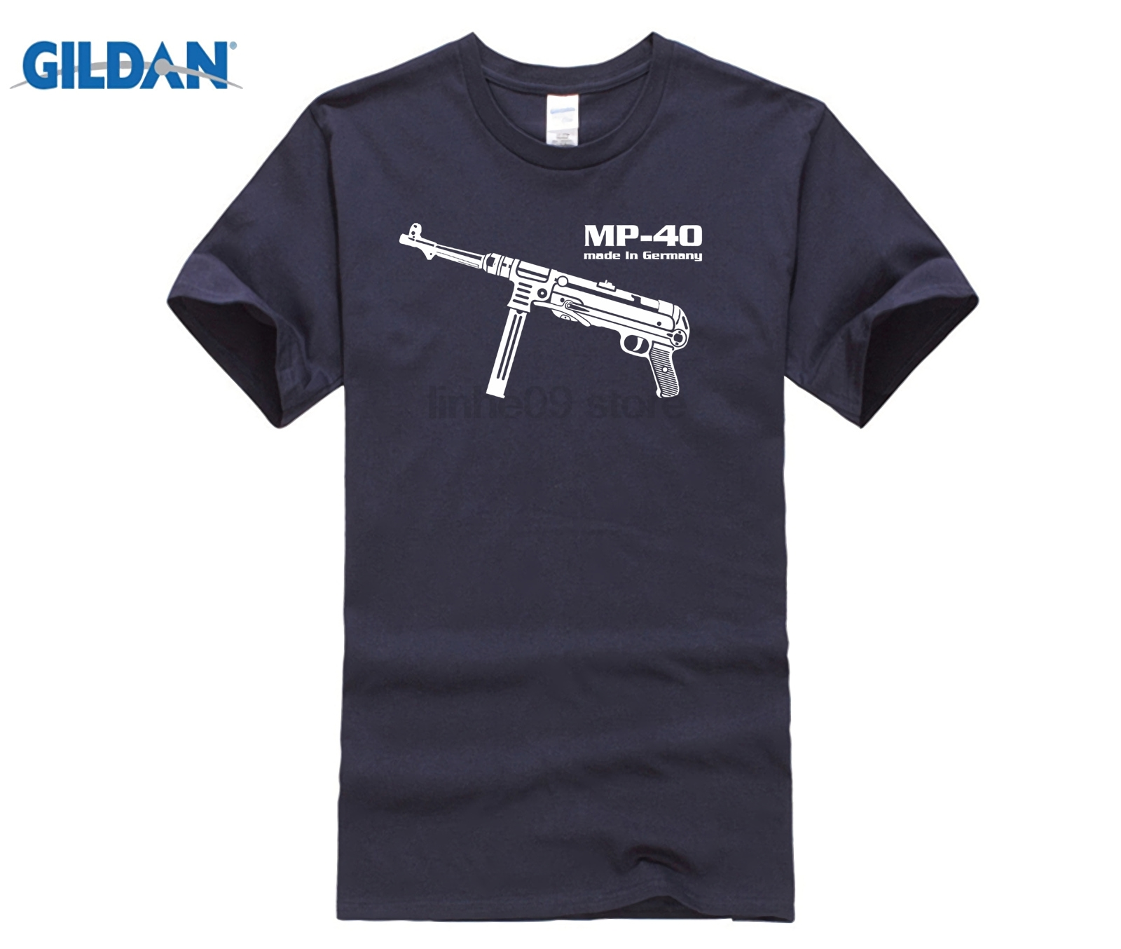 Different colors high quality casual men's street wear short sleeve Tee shirt Mp 40 Maschinen pistol Germany Wehrmacht image