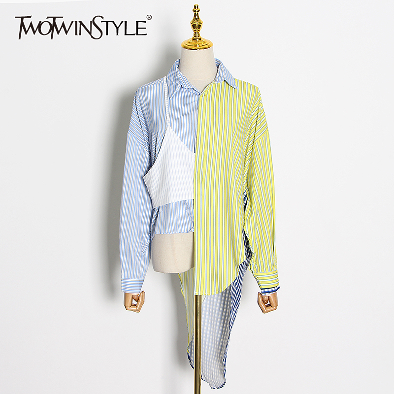 TWOTWINSTYLE Casual Loose Patchwork Women Shirt Lapel Collar Long Sleeve Hit Color Striped Blouse For Female Fashion Clothes New