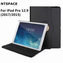 NTSPACE 360 Degrees Rotating PU Leather Flip Case For iPad Pro 12.9 inch 2015 2017 A1584 Smart Auto Sleep Wake Stand Holder cover for apple ipad pro 9 7 inch case pu leather flip smart stand 360 rotating case auto wake up sleep function with hand hold