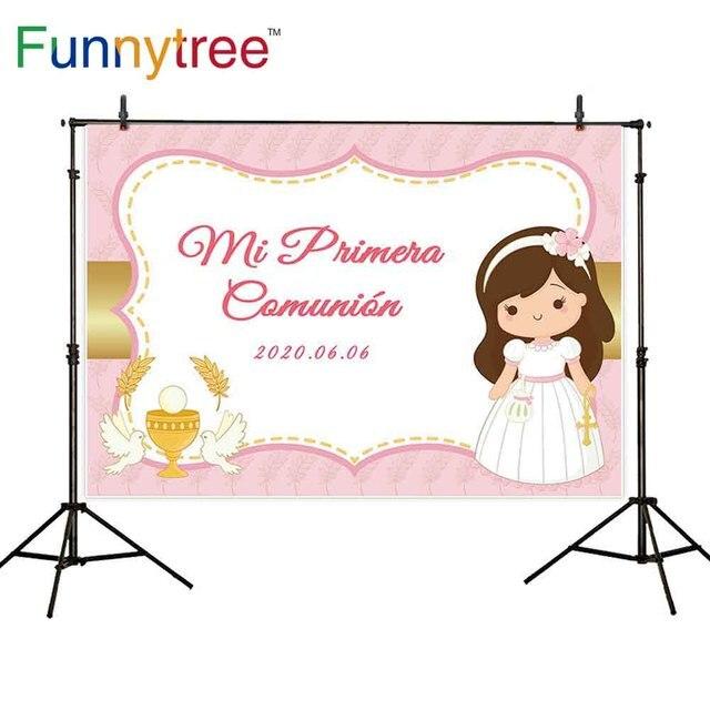 Фон Funnytree для фотостудии, украшение для первого причастия, фон для фотосъемки Червона на заказ для девочек, фотозон, Фотофон