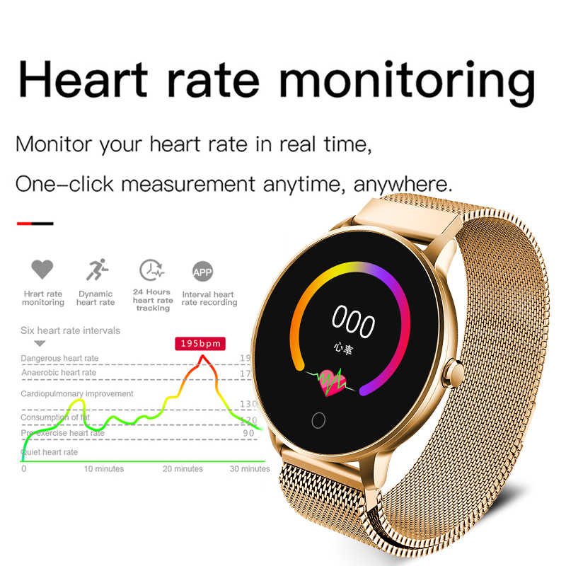 LIGE Women Smart watch Health Monitor Heart Rate / Blood Pressure / Waterproof Pedometer Men's and Women's Sports Smartwatch N58