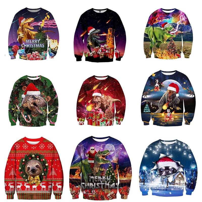 Christmas New 3d Print Joke  Sweater Men/women Sweatshirt Christmas Gift Funny Dinosaur Comic Long Sleeve Sweaters Tracksuit