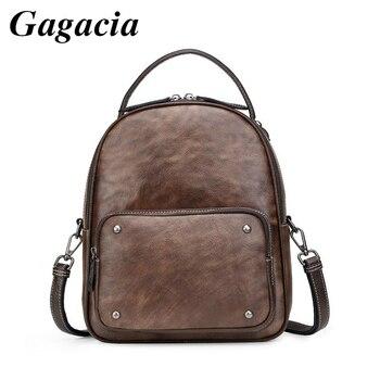 GAGACIA New Vintage Cowhide Womens Backpack For Female Fashion Distressed Schoolbags Girls Genuine Leather Bagpack IPAD
