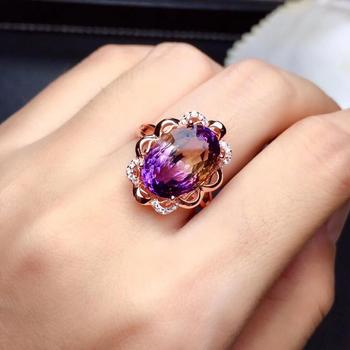 925 Silver Rose Gold Amethyst Ring Main Stone 10 × 14mm