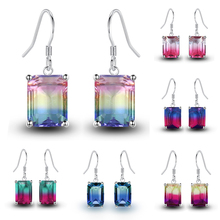 Charm Colored Crystal Dangle Earring Multiple Colour Stone Silver color Drop for Women 1 Pair Tourmaline Jewelry