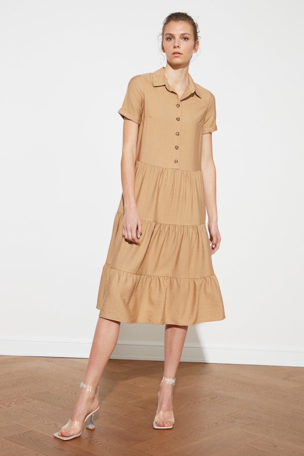 Trendyol Button Detail Flounces Dress TWOSS21EL1193