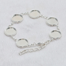 Купить с кэшбэком 10Pcs Silver Plated 12mm Round Glass Cabochon Cuff Tray Bezel Pad Blank Settings Bracelet Base For DIY Jewelry