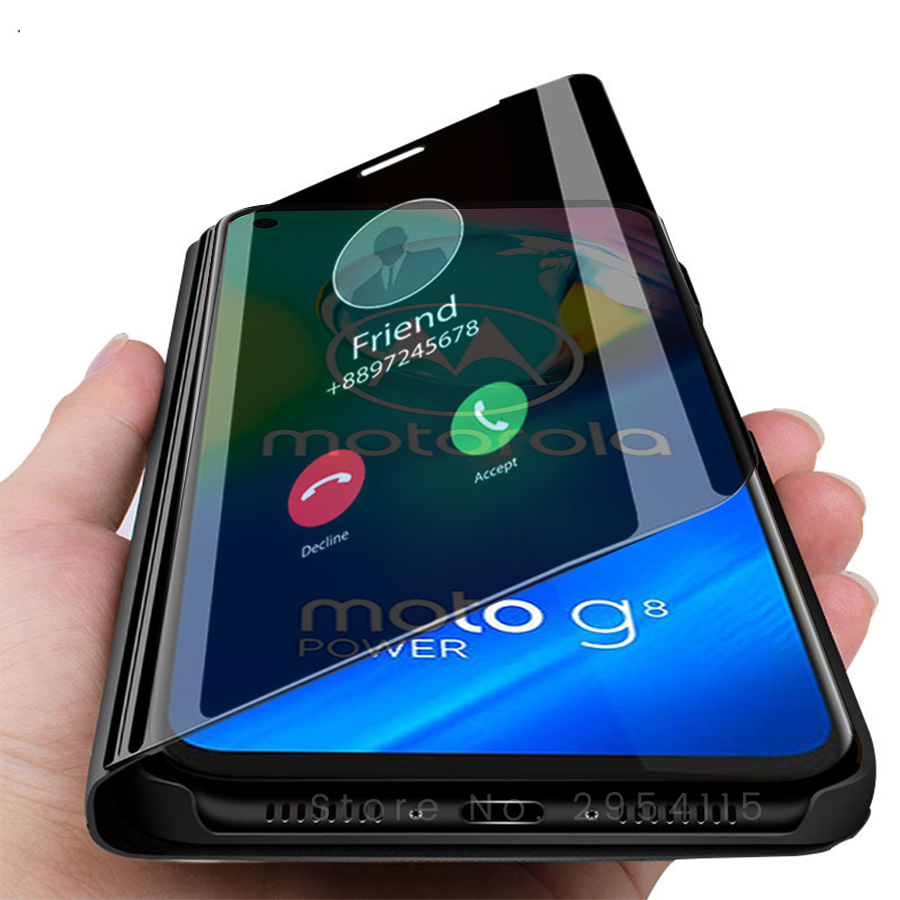 for Moto G8 Power case smart mirror flip case for Motorola moto g8power 6.4'' stand book phone coque fundas