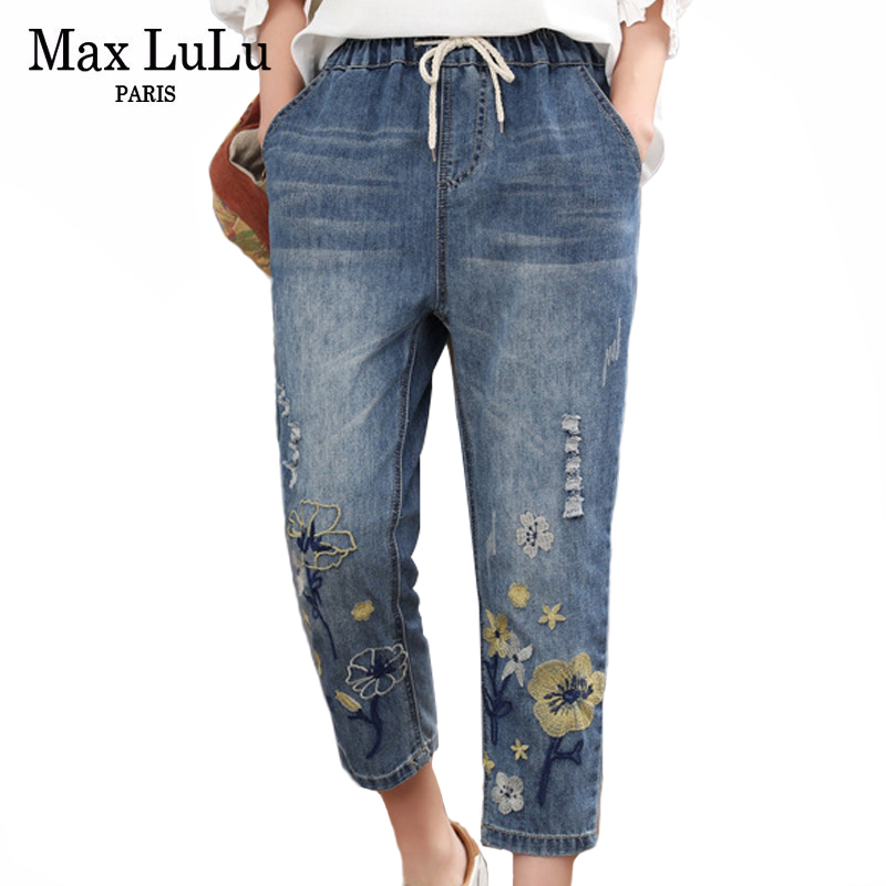 Max LuLu 2020 Chinese Summer Fashion Style Ladies Vintage Embroidery Jeans Women Casual Floral Denim Trousers Ripped Harem Pants