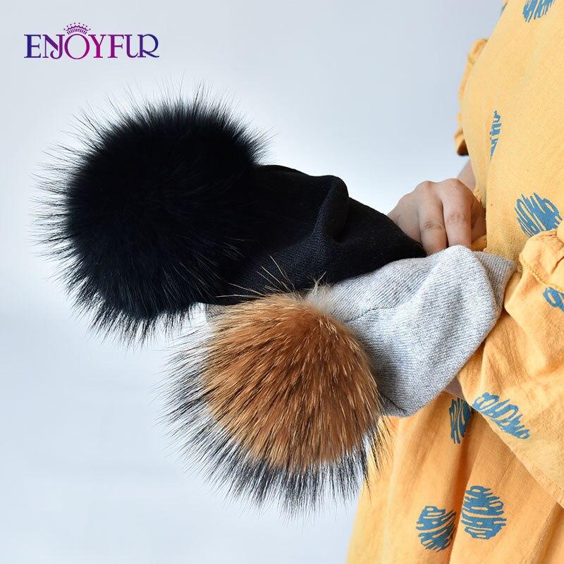 ENJOYFUR Winter women real fur pom pom hats wool knitted thick warm lined beanies hat lady fashion bobble ski caps 5