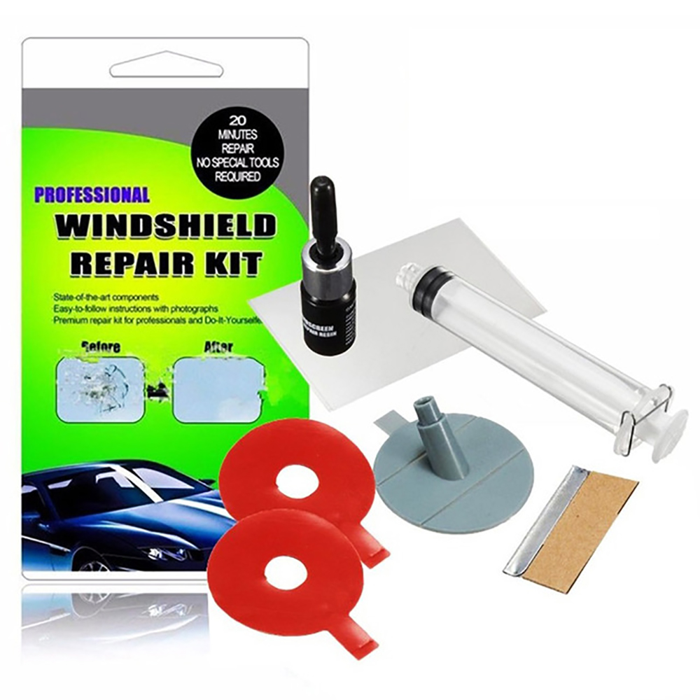 Set for repair of chips and cracks auto glass windshield repair kit, removal of cracks on glass, repair of auto glass with your own hands
