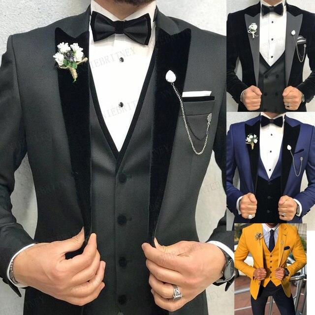 2020 Brand Mens Wedding Suit Set Slim Fit Dinner Prom Grooms Dress Tuxedo Custom Grey Business Blazer Best Man Jacket with Pants