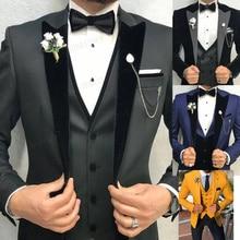 2021 Brand Mens Wedding Suit Set Slim Fit Dinner Prom Grooms Dress Tuxedo Custom Grey Business Blazer Best Man Jacket with Pants