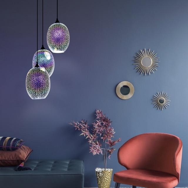 Modern Creative E27 LED Indoor Lighting Combination Hanging Lamps Bedroom Hall Living Room Loft Office Bar Glass Pendant Lights 5