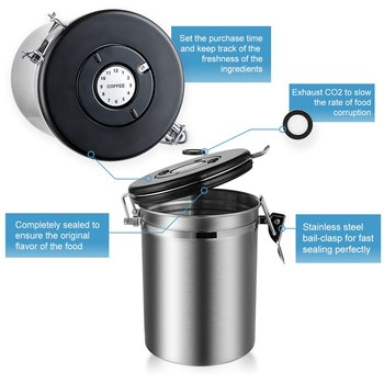 Stainless Steel Airtight Sealed Canister With Spoon Coffee Flour Sugar Container Holder Can Storage Bottles Jars For Coffee Bean 5