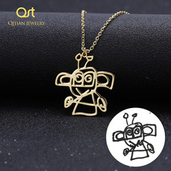 Custom Children's Drawing Necklace, Kid's Art Child Artwork Personalized Graffiti Necklaces Custom Your Design Name Logo Jewelry