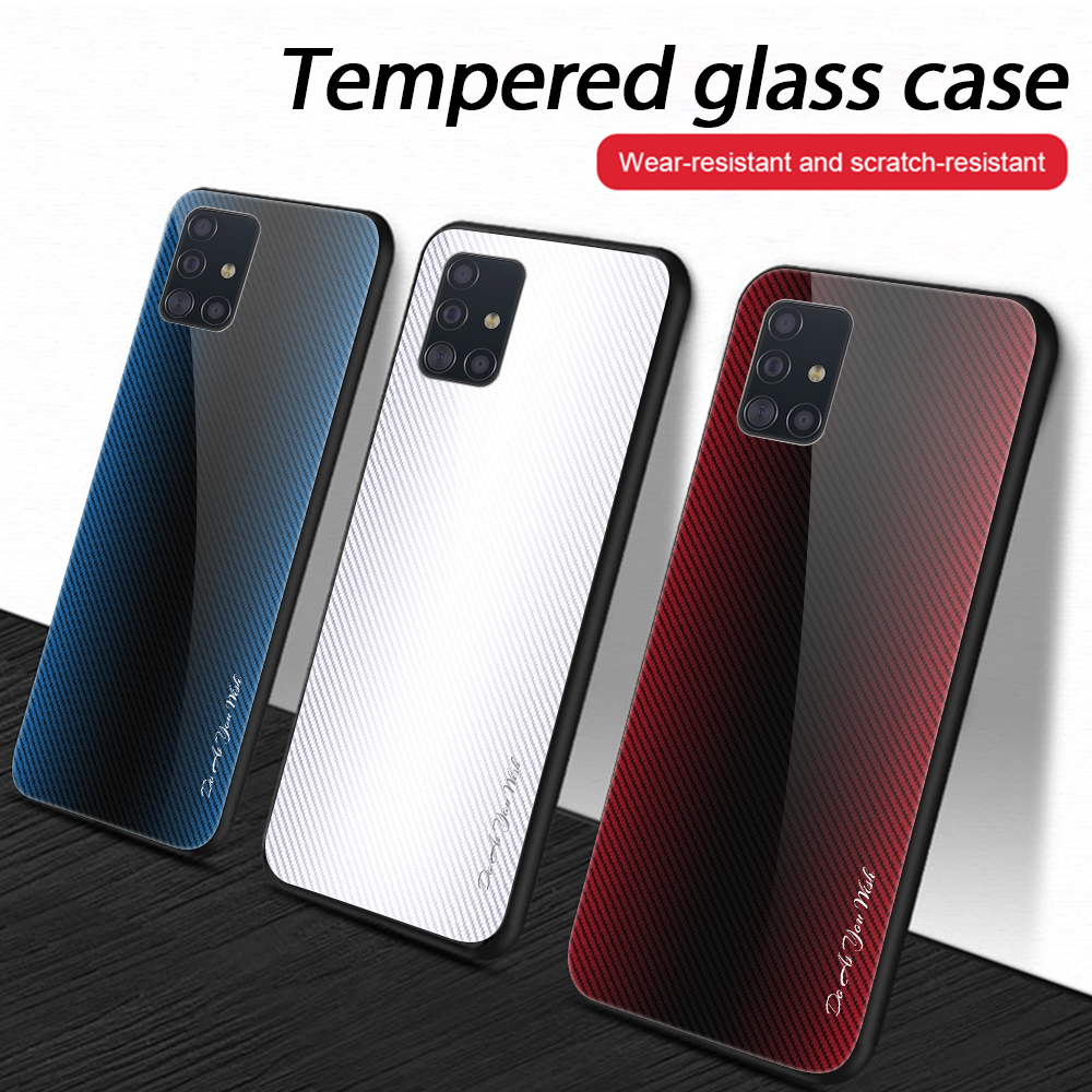 For Samsung Galaxy A51 A71 Stripe Tempered Glass Phone Case For Samsung Galaxy S20 Plus S20 Ultra Gradient Glass Protective Case