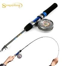Sougayilang мини-удочка для подледной рыбалки 120 см, переносная карбоновая рыболовная удочка с креветками, зимняя Удочка с рыболовной катушкой, рыболовные снасти
