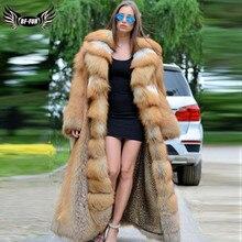 120 cm X-Long Luxury Real Red Fox Fur Coat For Women Genuine Fox Fur Jacket With Big Lapel Collar Natural Fur Coats Plus Size women winter real red fox fur coat 120cm long luxury for female red fox fur jacket with big turn down collar thick warm fur coat