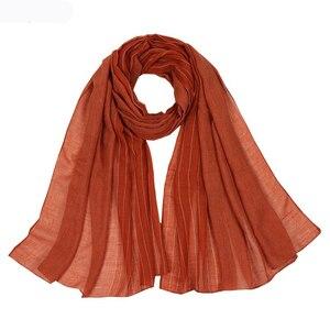 Image 1 - Осенне зимние шарфы хорошего качества, Женский хлопковый шарф, шали и накидка, хиджаб, шарф, женская теплая длинная шаль, мусульманский хиджаб