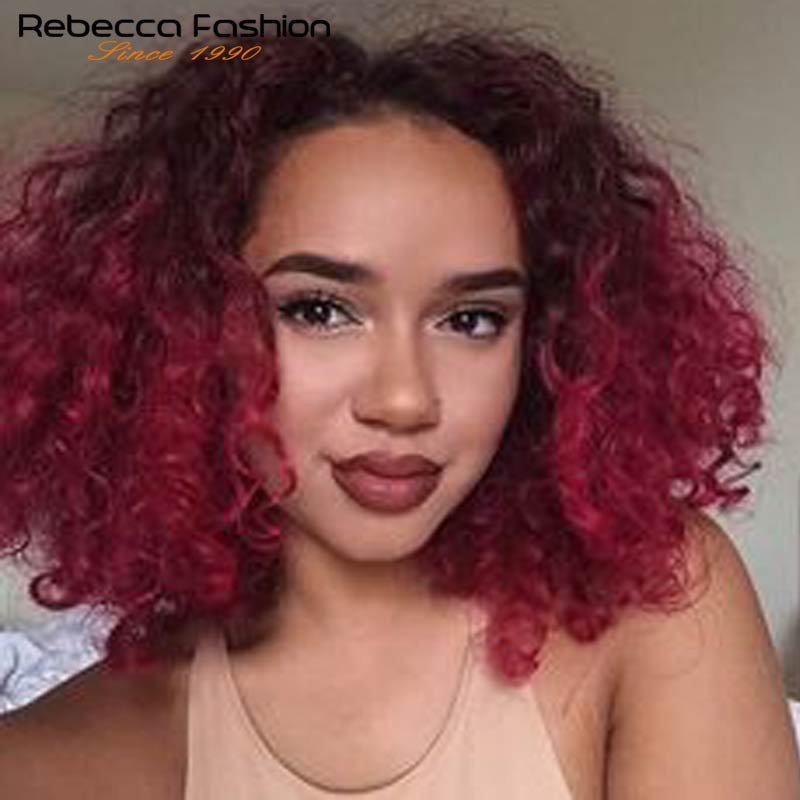 Rebecca Jerry Curly  Human Hair Lace Wigs For Black Women Water Wave Brazilain Remy Hair I Part Lace Natural Hair Ombre Wigs