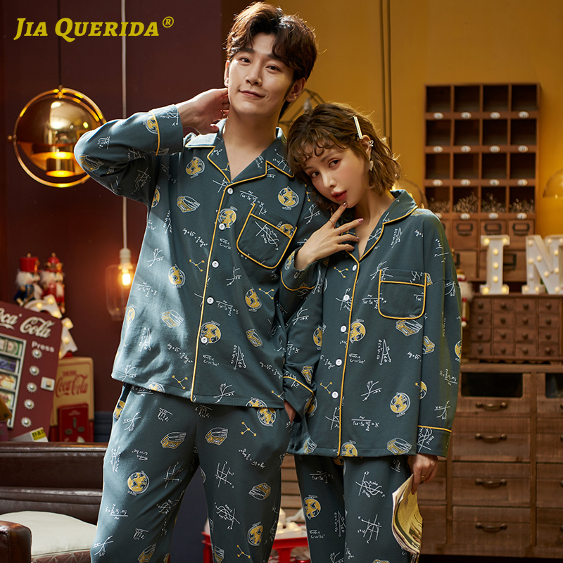 Fashion Long Sleeve Long Pants Pajamas For Couple Homesuit Homeclothes Turn Down Collar Front Pocket Pj Set Printing Pajamas Set