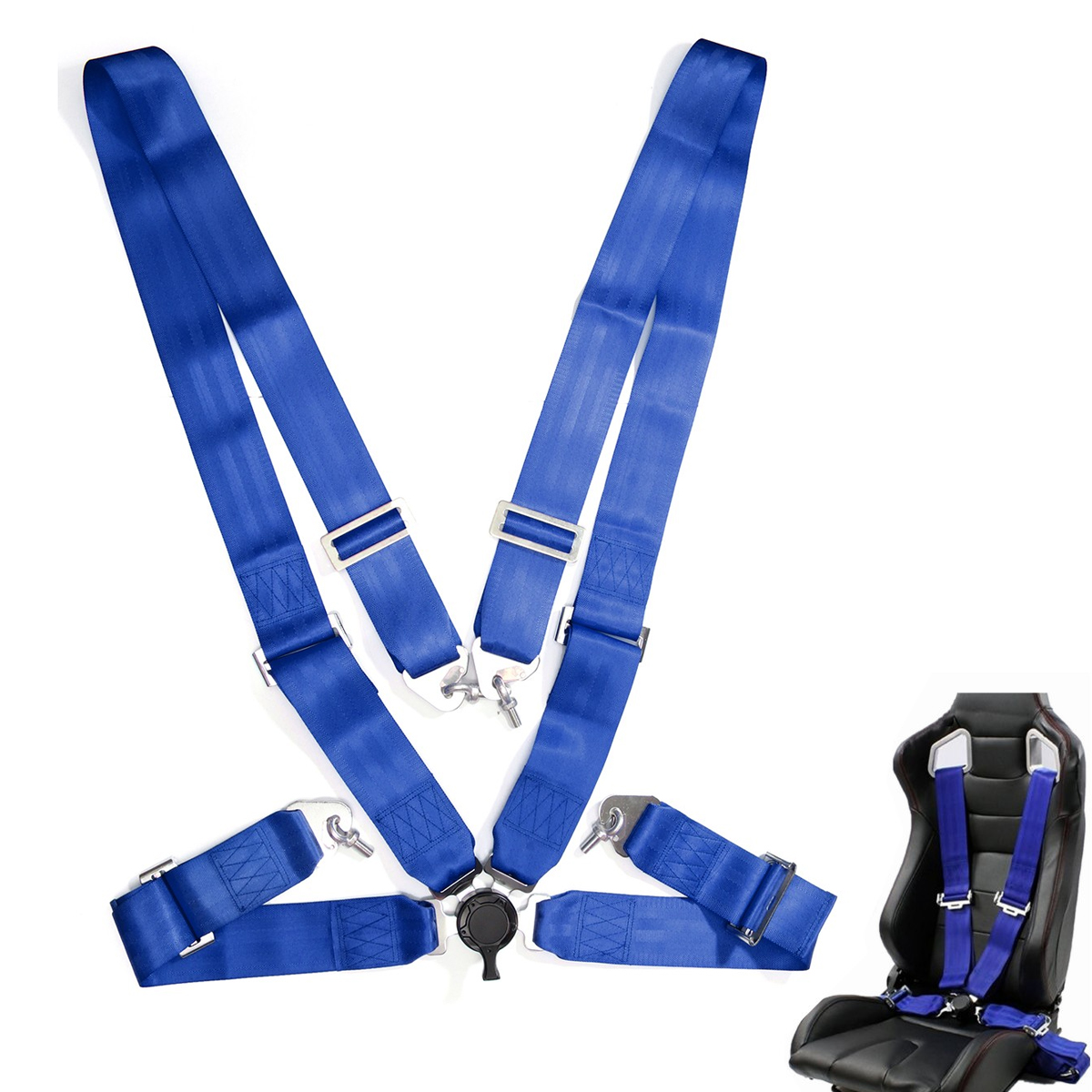 Sport Harness 4 Point Silver Seat Belt For Kit Car Rally Track