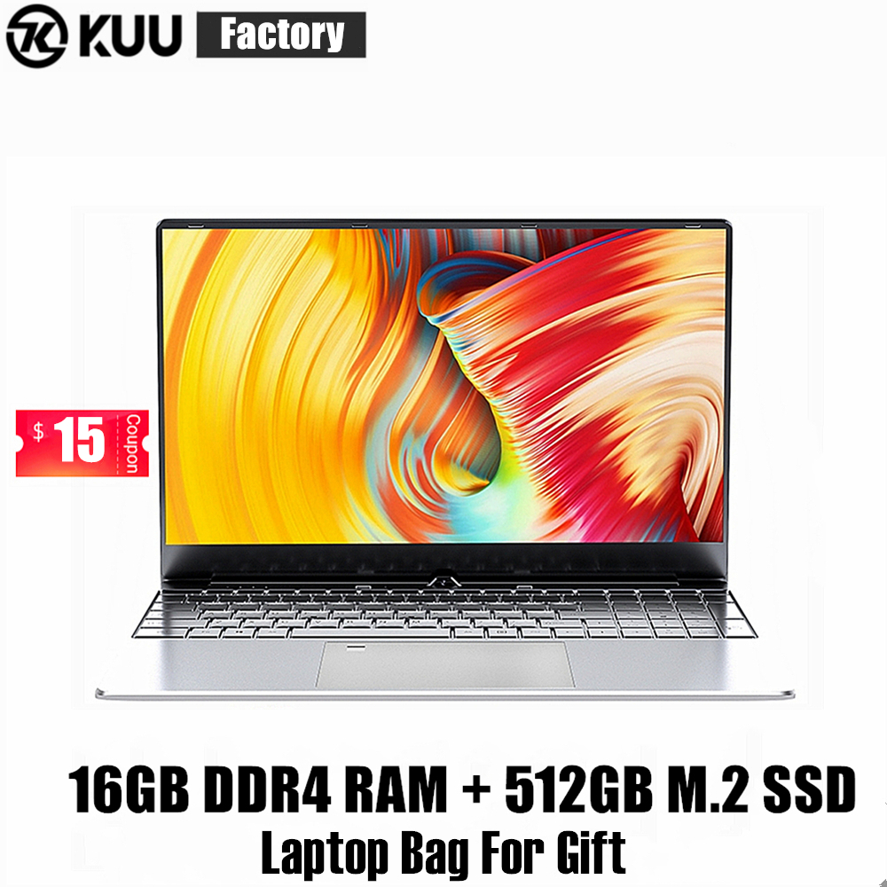 KUU A9 Pro 15.6 Inch IPS Laptop For Intel 3867U Dual-core 16GB DDR4 RAM 512GB M.2 SSD Camera Studen Game Office Notebook