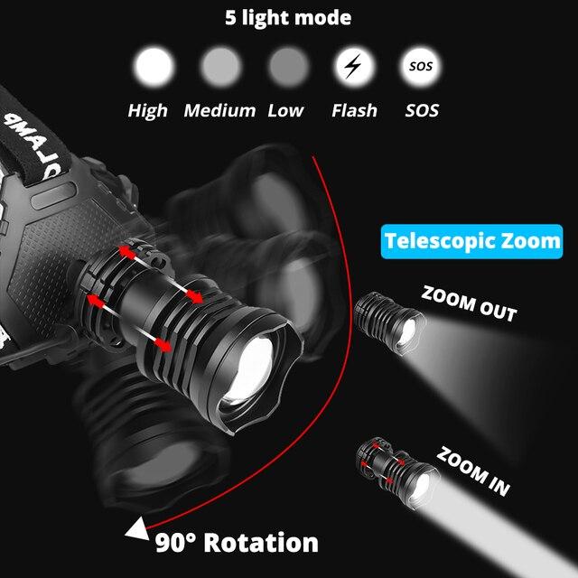 Фото powerful 8000lm xhp902 led headlamp usb rechargeable headlight