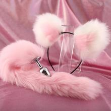 Cute Soft Cat Ears Headbands with 40cm Fox Tail Bow Metal Butt Anal Plug Erotic Cosplay Accessories