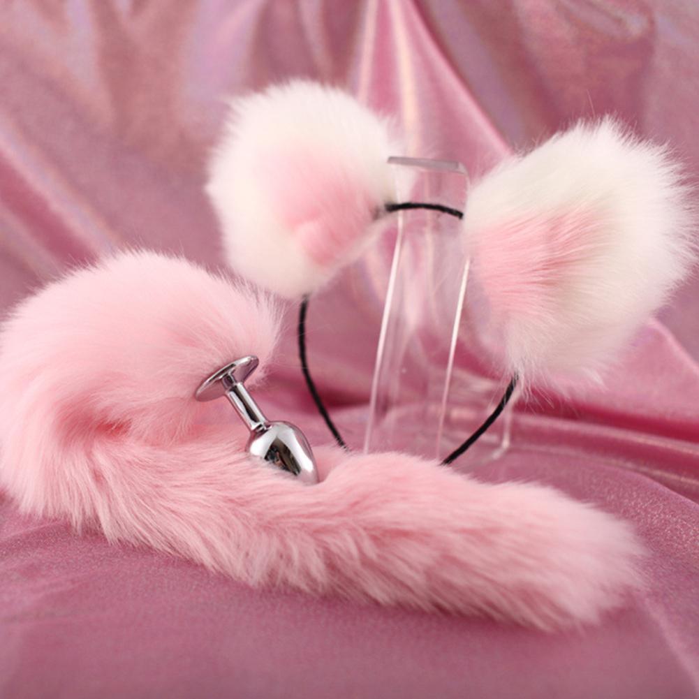 Mignon doux chat oreilles bandeaux avec 40cm renard queue arc métal bout Anal Plug érotique Cosplay accessoires adultes jouets sexuels pour les Couples