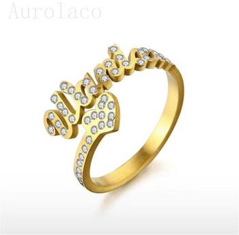 Aurolaco indywidualny pierścionek z imionami cyrkonowe litery pierścionki z sercem imiona pary pierścionek z imionami rodzinny pierścionek regulowany obrączka tanie i dobre opinie CN (pochodzenie) STAINLESS STEEL List Unisex Metal Rocznica Personalizowane pierścienie TRENDY NAME lovers Letter Fashion