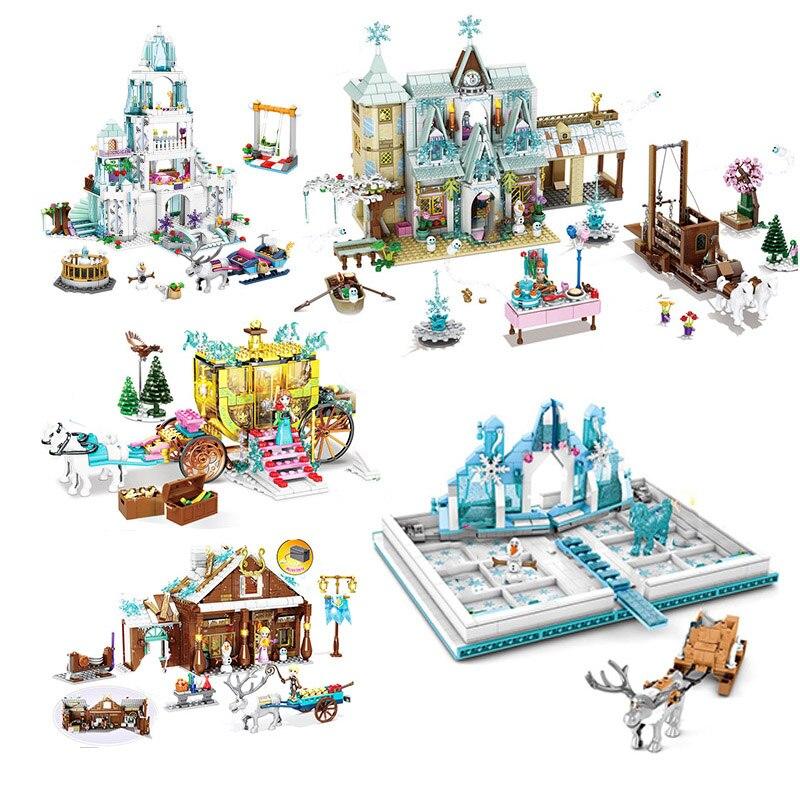 Elsa Sparking Ice Castle Magical Palace Olaf Princess Set Girl Figure Building Blocks Fit Frozeningly 2 Friends 41062