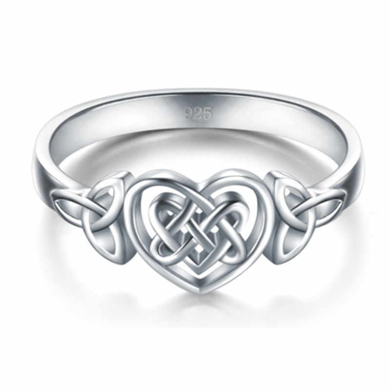 MD Retro Wanita 925 Sterling Silver Celtic Simpul Celticity Cincin Viking Perhiasan