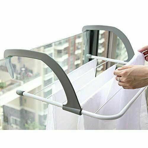 Bathroom Products Radiator Towel Clothes Folding Pole Airer Dryer Drying Rack 5 Rail Bar Holder Home Decoration Accessories