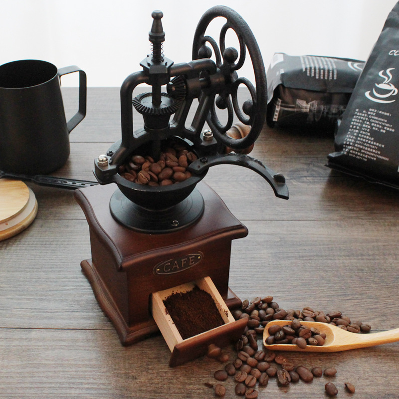 Classical Wooden Manual Coffee Grinder Hand Cast Iron Retro Handmade Coffee Beans Spice Mini Burr Mill Grinders Kitchen Tool