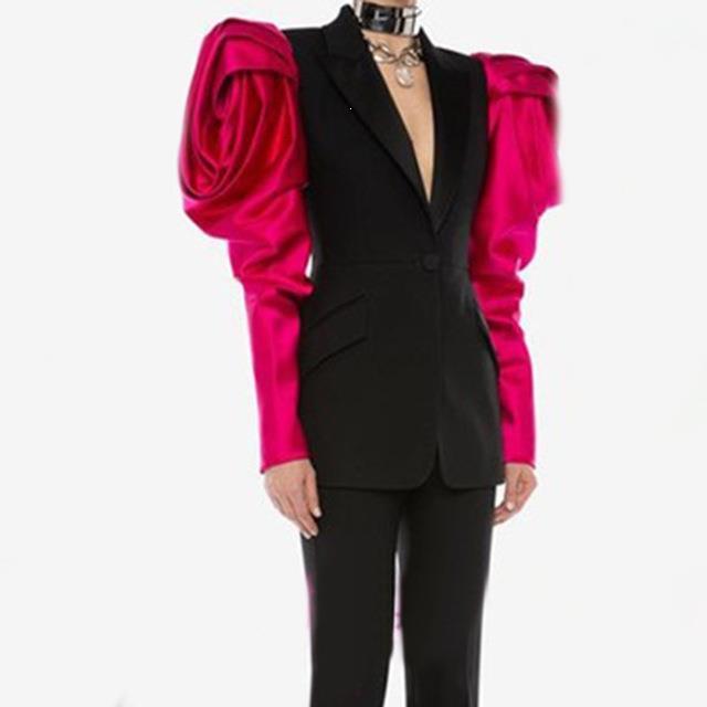 Automne Patchwork Hit couleur Blazer haute rue femmes bouffantes manches crantées Blazers