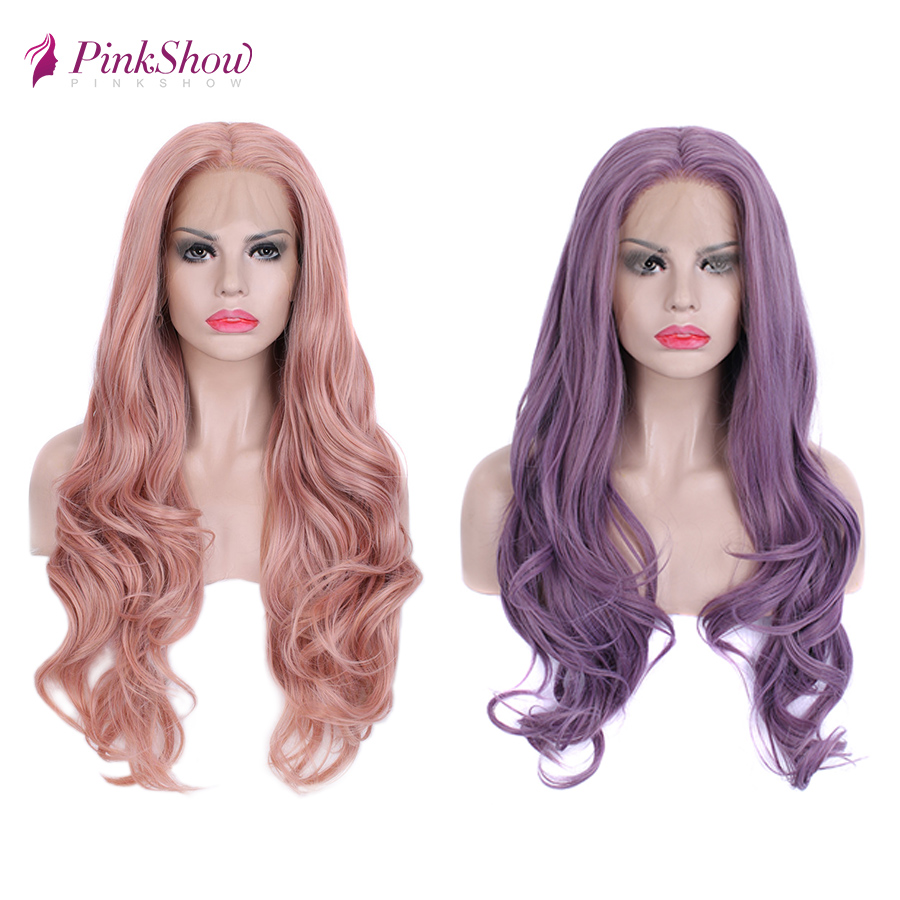 Pinkshow Pink Purple Wig Synthetic Lace Front Wig Long Wavy Wigs For Black Women Heat Resistant Fiber Glueless Peruka