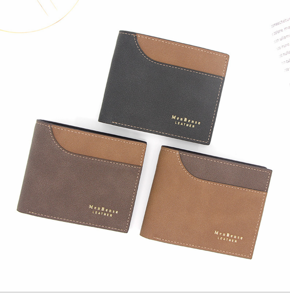Men's Short Wallet Splicing Retro Youth Wallet Ultra-thin Men's Cross-section Wallet Men's Wallet Wholesale Price